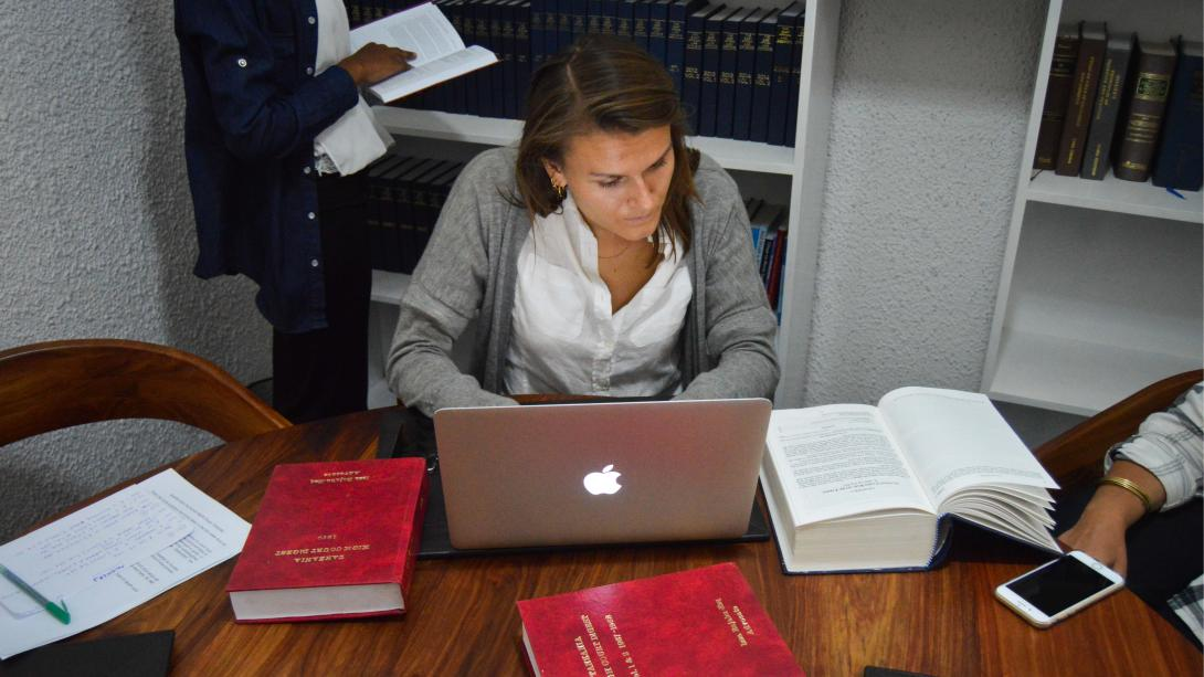 Human Rights intern does research at a firm in Tanzania.